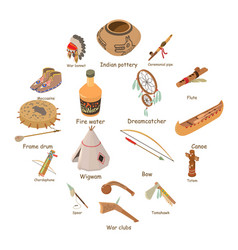 indians ethnic american icons set isometric style vector image