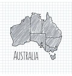 Pen hand drawn Australia map on paper vector image