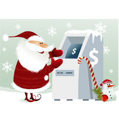 santa claus and cash machine vector image vector image