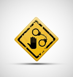 Sign handcuffs and palm vector image