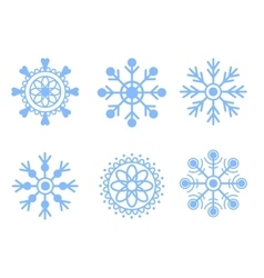 Snowflakes blue icon set vector image