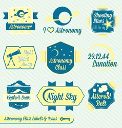 Vintage Astronomy Class Labels and Icons vector image vector image
