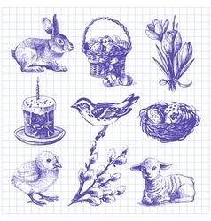 Easter set hand drawn ink vintage vector image vector image