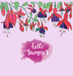 Flowers fuchsia on pink background and hello vector