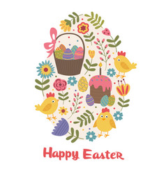 happy easter greeting card with chick vector image vector image