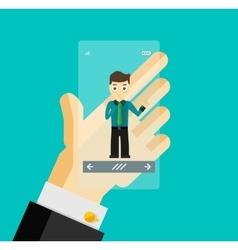 Human hand holding transparent screen smartphone vector image