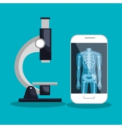 smartphone and microscope medical service vector image