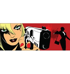 Two girls with guns vector image vector image