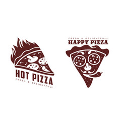flat pizza slice icon pictogram isolated vector image vector image