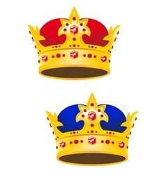 Golden king crown with gems vector image