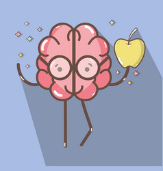 icon adorable kawaii brain eating apple vector image vector image