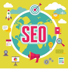 SEO - Search Engine Optimization - in Flat Design vector image vector image
