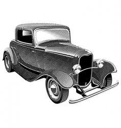vintage muscle car engraving vector image vector image