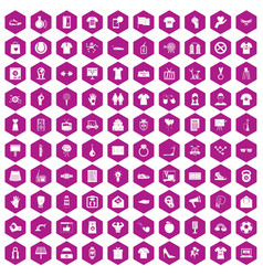 100 t-shirt icons hexagon violet vector image