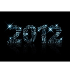 2012 made from blue snowflakes vector image