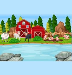 A farm animal scene vector