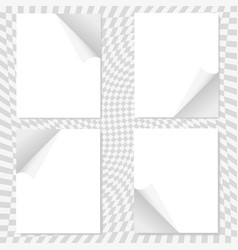 a set of four sheets of white paper on a gray vector image