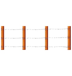 A wooden fence with barbwires vector
