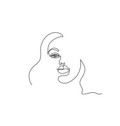 abstract modern portrait woman face one line vector image