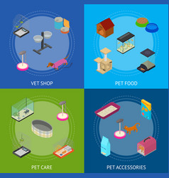 accessories for domestic pets banner card set care vector image