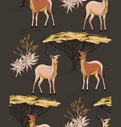 african savanna desert animals deep antelope dry vector image