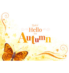 Autumn background with butterfly insect vector
