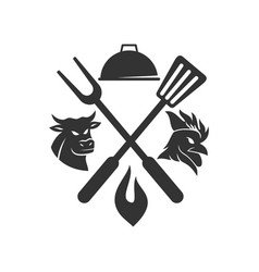 Barbecue chicken beef bull logo template badge vector