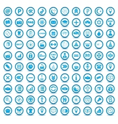 Big blue icons set vector image