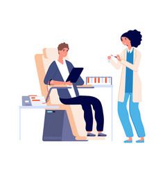 Blood analysis medical check guy blood donation vector