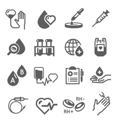 blood donation icon set healthcare and hospital vector image