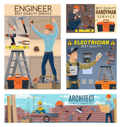 builder engineer architect electrician workers vector image