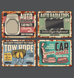 Car radiator and auto seat tow rope and mats vector