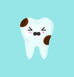 Caries tooth with emotional face cute colorful vector