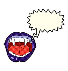 cartoon vampire mouth with speech bubble vector image