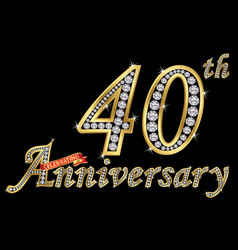 Celebrating 40th anniversary golden sign vector