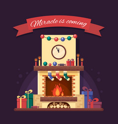 christmas fireplace with gifts clock and candle vector image