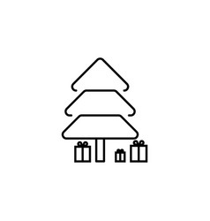 christmas tree outline icon element of new year vector image