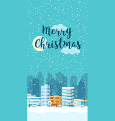 Christmas winter city vertical landscape vector
