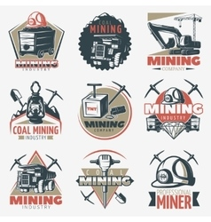Coal Mining Emblems Set vector