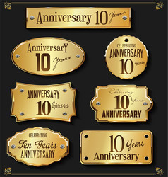 collection of anniversary retro gold labels 10 vector image