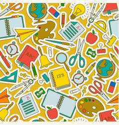 Colored cartoon school seamless pattern vector