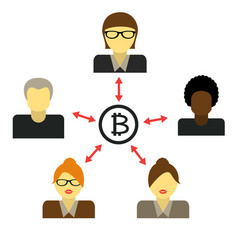 communication of cryptocurrency payment by vector image