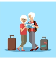 Couple of elderly people travel vector