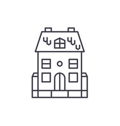 cute family house line icon concept cute family vector image