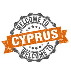 Cyprus round ribbon seal vector