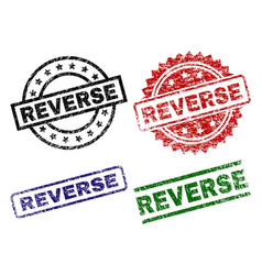 Damaged textured reverse seal stamps vector