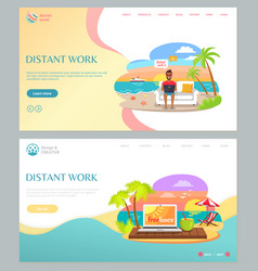 Distant work with laptop on beach summer vector