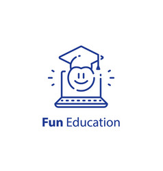 Emoticon and education concept fun learning vector