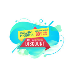 Exclusive products mega discounts on shop banner vector