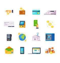 financial technology icons vector image